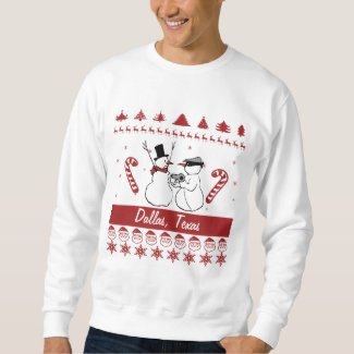 Dallas Texas Tacky Xmas Sweatshirt Snowman Robbery