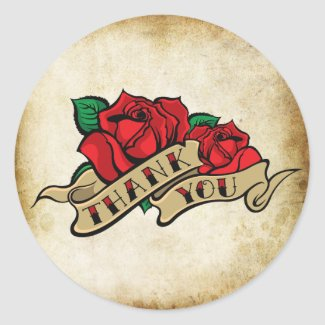 Tattoo Rose Rockabilly Urban Thank You Seals Classic Round Sticker