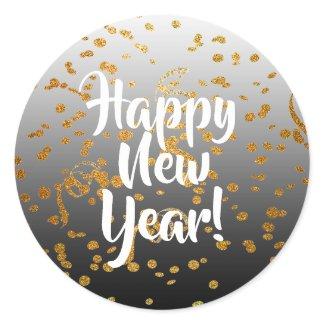 Happy New Year Gold Confetti Stickers