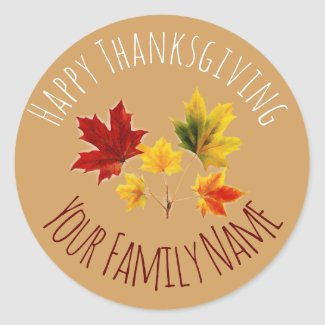 Vintage maple leaves no2 - Give Thanks Classic Round Sticker