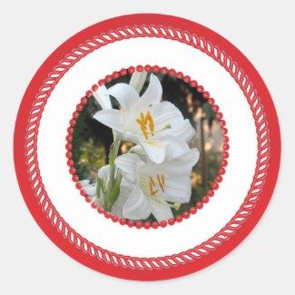 Mary's Lily, Jesse Tree Classic Round Sticker