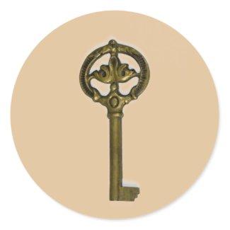 antique key classic round sticker