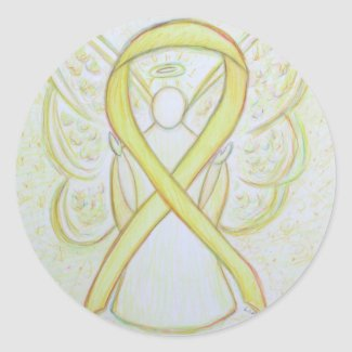 Yellow Awareness Ribbon Angel Decal Stickers