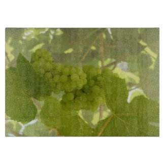 Beautiful green vineyard glass cutting board