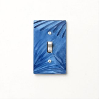 Eye-catching Painted Blue Abstract Rays Light Switch Cover