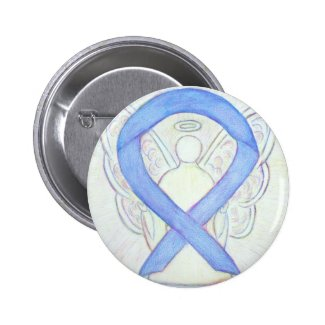 Periwinkle Awareness Ribbon Angel Art Button