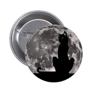Black Cat Full Moon Button