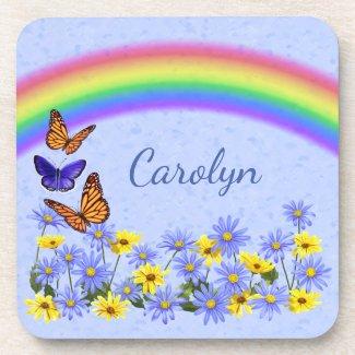 Pretty Butterflies and Daisies Spring Garden Drink Coaster