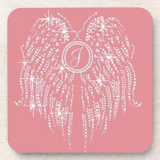 J, Monogram/Initial Wing Bling Multi-Background Coaster