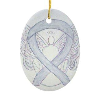 Light Gray Awareness Ribbon Angel Ornament