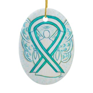 Cervical Cancer Awareness Ribbon Angel Ornament