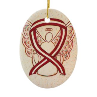 Burgundy and Ivory Awareness Ribbon Angel Ornament