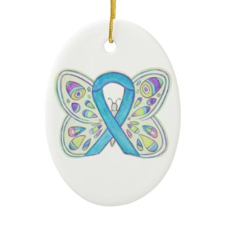 Blue Butterfly Awareness Ribbon Holiday Ornaments