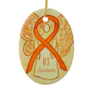 Multiple Sclerosis Awareness Ribbon Angel Ornament