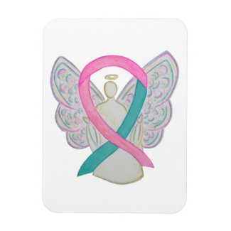 Pink and Teal Awareness Ribbon Angel Magnets