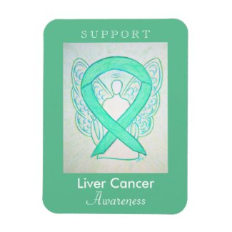 Liver Cancer Awareness Ribbon Angel Custom Magnet