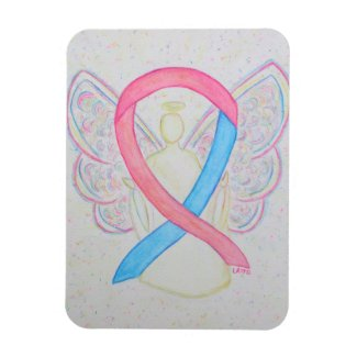Pink and Blue Awareness Ribbon Angel Art Magnet