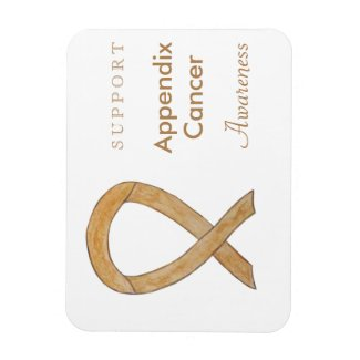Appendix Cancer Awareness Ribbon Art Magnet