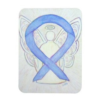 Periwinkle Blue Awareness Ribbon Angel Art Magnet