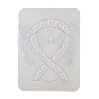 Pearl Awareness Ribbon Angel Custom Art Magnets