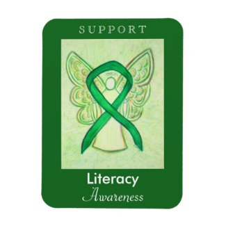 Literacy Awareness Ribbon Angel Custom Magnets