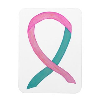 Pink and Teal Awareness Ribbon Custom Magnets