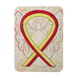 Red and Yellow Awareness Ribbon Angel Magnet Gift