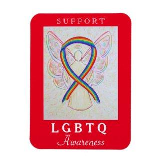 LGBTQ Rainbow Awareness Ribbon Angel Magnet