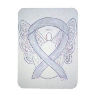 Gray Awareness Ribbon Angel Art Magnet