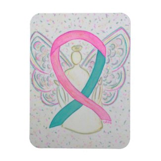 Teal and Pink Awareness Ribbon Angel Magnets