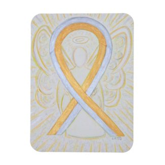 Gold & Silver Awareness Ribbon Angel Art Magnets