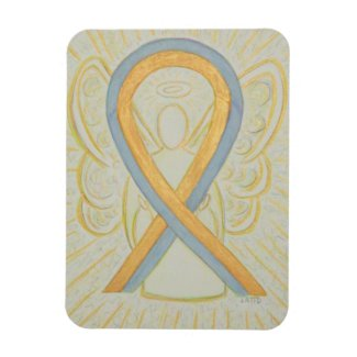 Gold & Gray Awareness Ribbon Angel Art Magnets