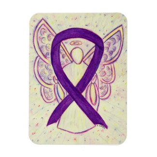 Purple Awareness Ribbon Angel Art Custom Magnet