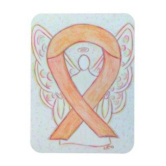 Peach Awareness Ribbon Guardian Angel Gift Magnets