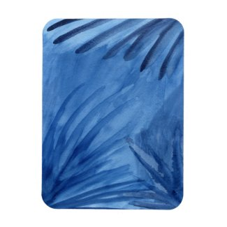 Evocative Abstract Blue Rays Watercolor Painting Rectangular Photo Magnet