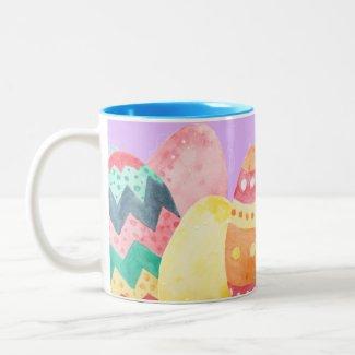 Watercolor Easter Egg Two-Tone Coffee Mug