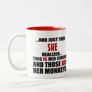 (Hers) Funny Personalized Circus Monkeys Two-Tone Coffee Mug