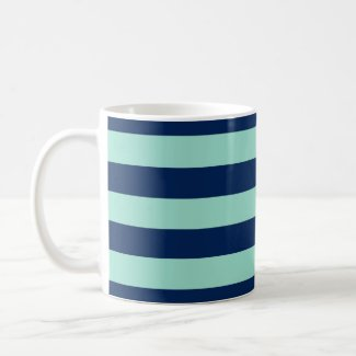 Mint Green and Navy Horizontal Stripes Coffee Mug
