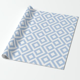 Light Blue and White Meander gift wrap