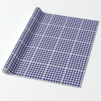 Navy and White Gingham Pattern Wrapping Paper