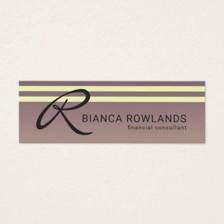 Stylish Mauve Purple and Cream Stripes Feminine Professional Financial Consultant Monogram Business Cards Template