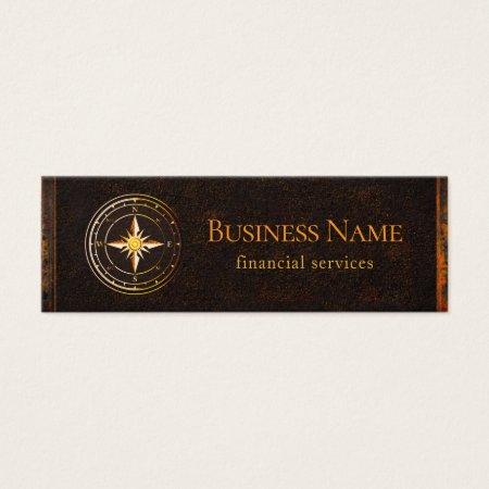 Vintage Rustic Gold Compass Accounting and Financial Services Business Cards Template