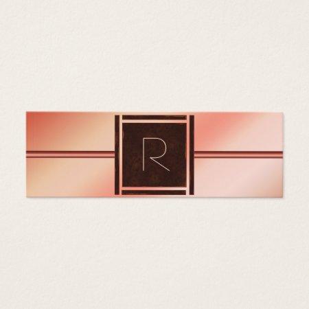 Modern Rose Gold Monogram Mini Financial Adviser Business Cards Template