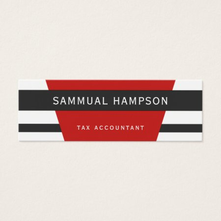 Modern Custom Color Red, White and Charcoal Black Stripes Tax Accountant Business Cards Template