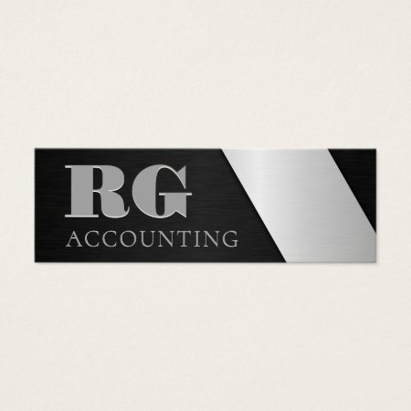 Sleek Elegant Professional Monogram Brushed Black and Silver Steel Metal Financial Analyst Accountant Business Cards Template