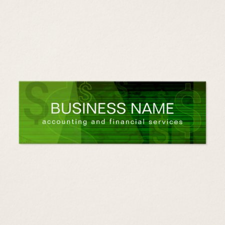 Green Abstract Dollar Signs Design Financial Analyst Business Cards Template