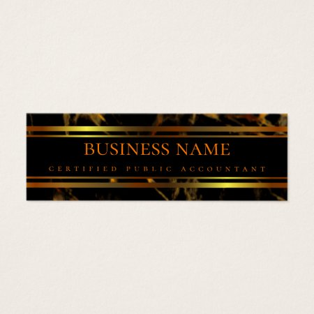 Classy Elegant Black and Gold Marble Professional Certified Public Accountant Business Cards Template