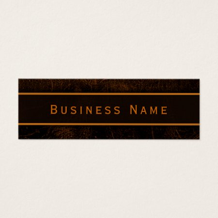 Classy Elegant Brown Leather Mini Business Card Template