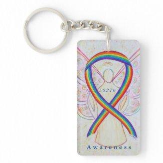LGBTQ Angel Rainbow Awareness Ribbon Keychain