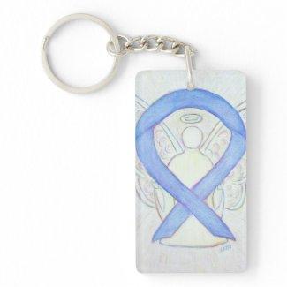 Periwinkle Awareness Ribbon Angel Key chain